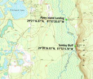 Sunday Bluff-Piney Island Map