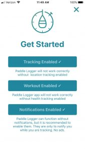 Paddle Logger - Get Started Screen