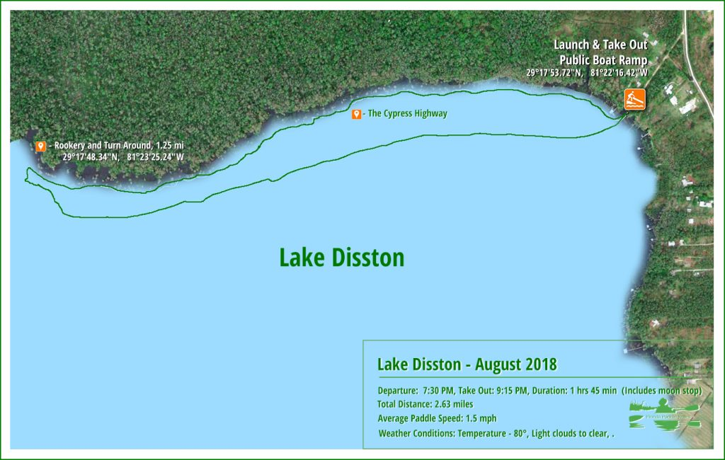 Lake Disston - Cypress Highway Paddle Map