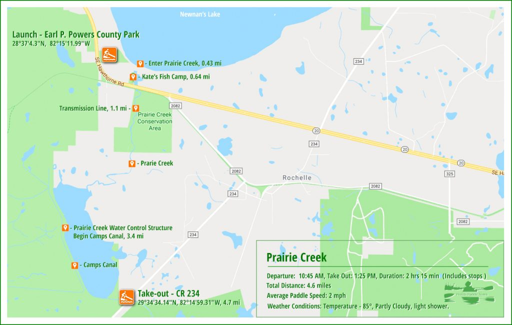 Prairie Creek Paddle Map