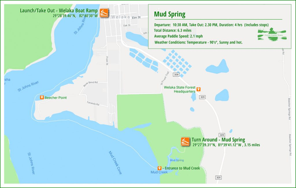 Mud Spring Paddle Map