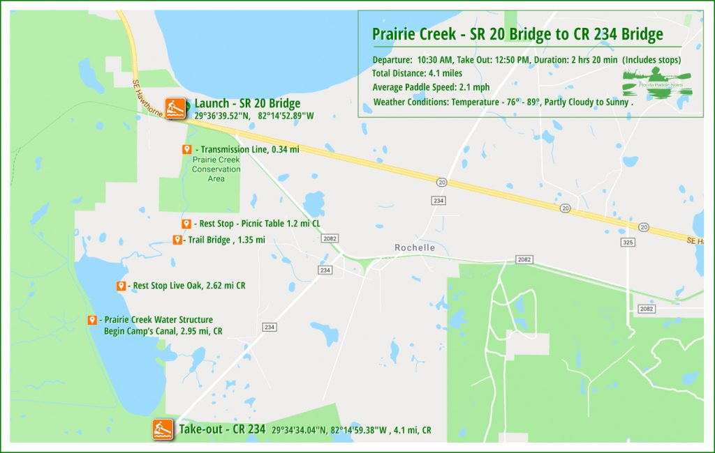 Paddle Map - Prairie Creek 2018