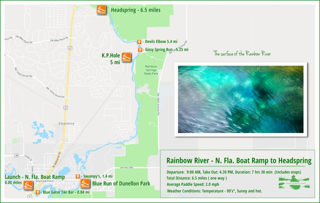 Rainbow River Paddle map