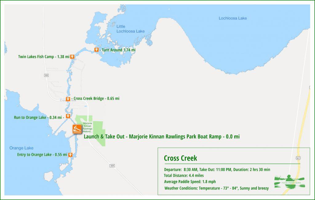 Cross Creek Paddle Map
