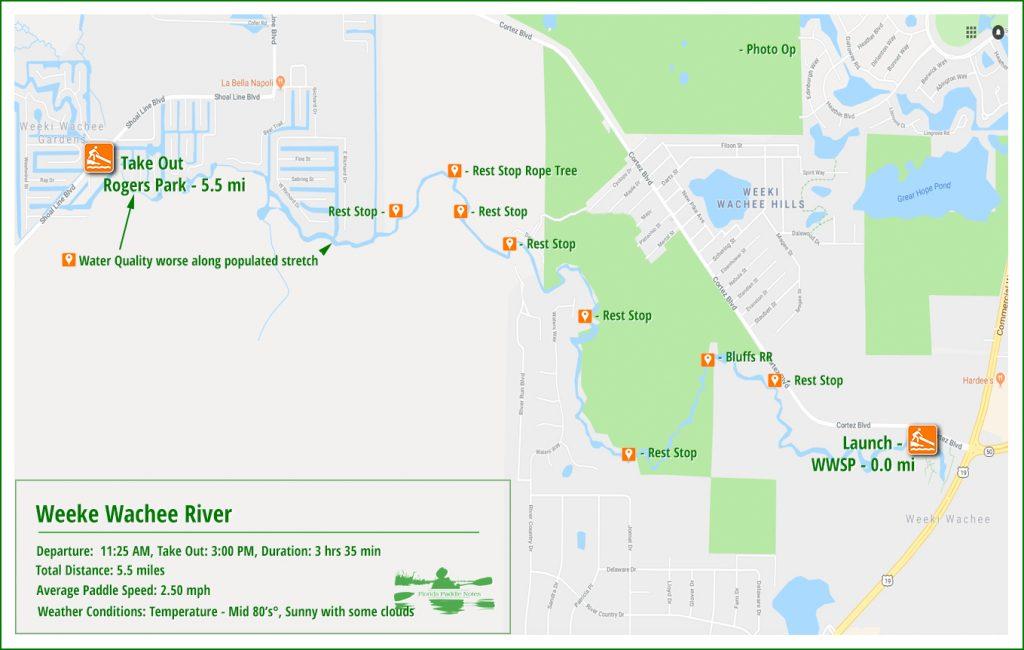 Weeki Wachee River Paddle Map