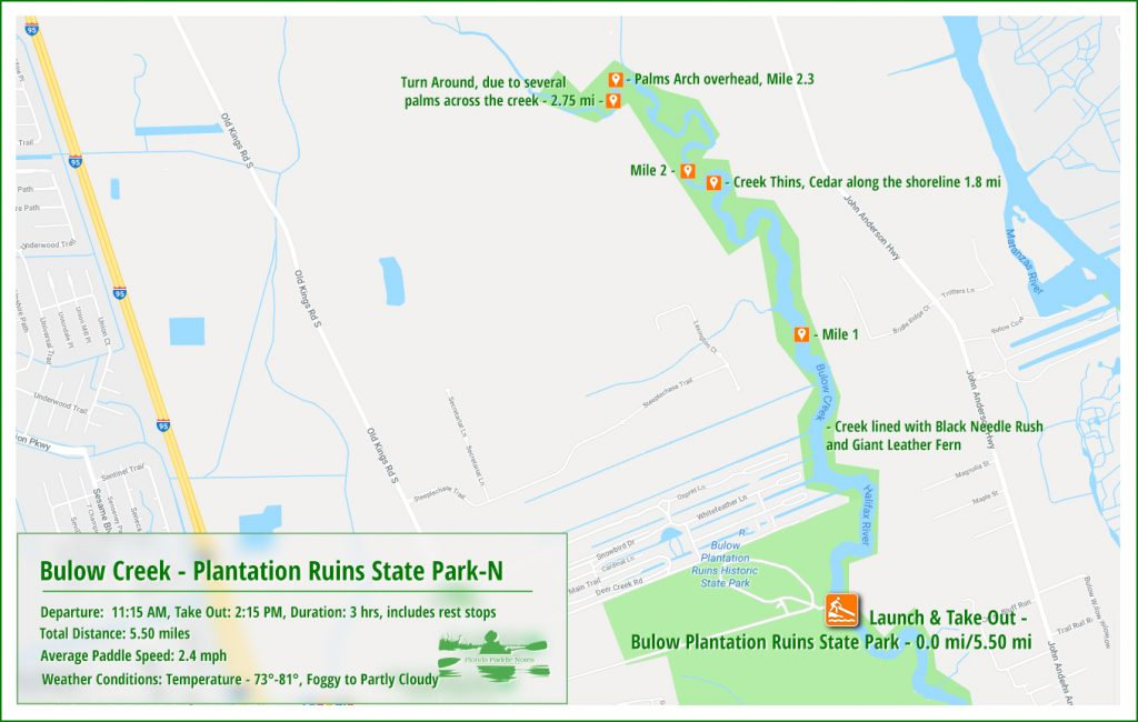 Paddle Map for Bulow Creek North