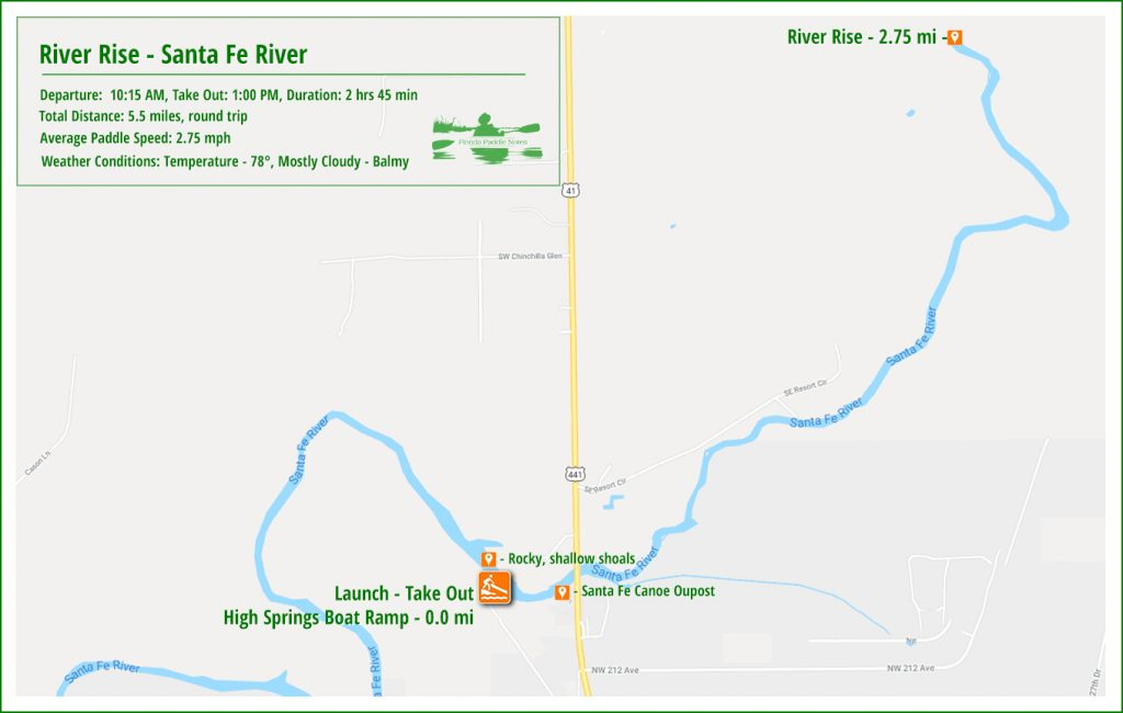 River Rise Paddle Map