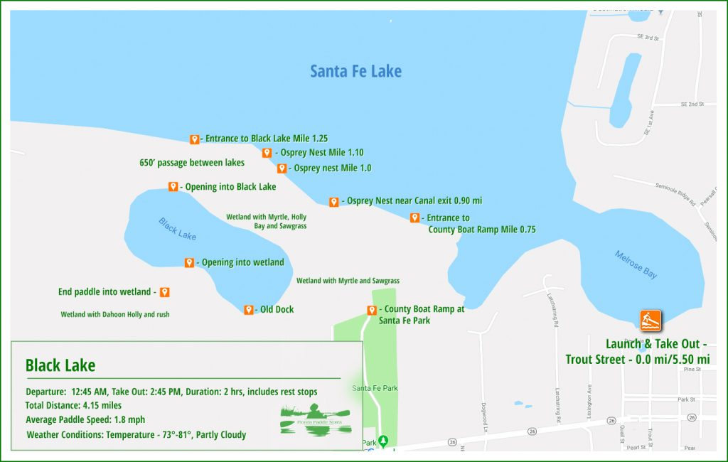 Santa Fe Lake - Black Lake Paddle Map