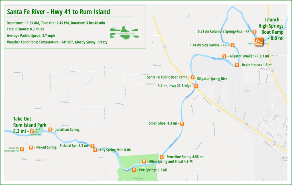 Paddle Map of Santa Fe River - Hwy 41 to Rum Island