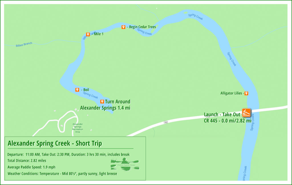 Alexander Spring Creek Paddle Map