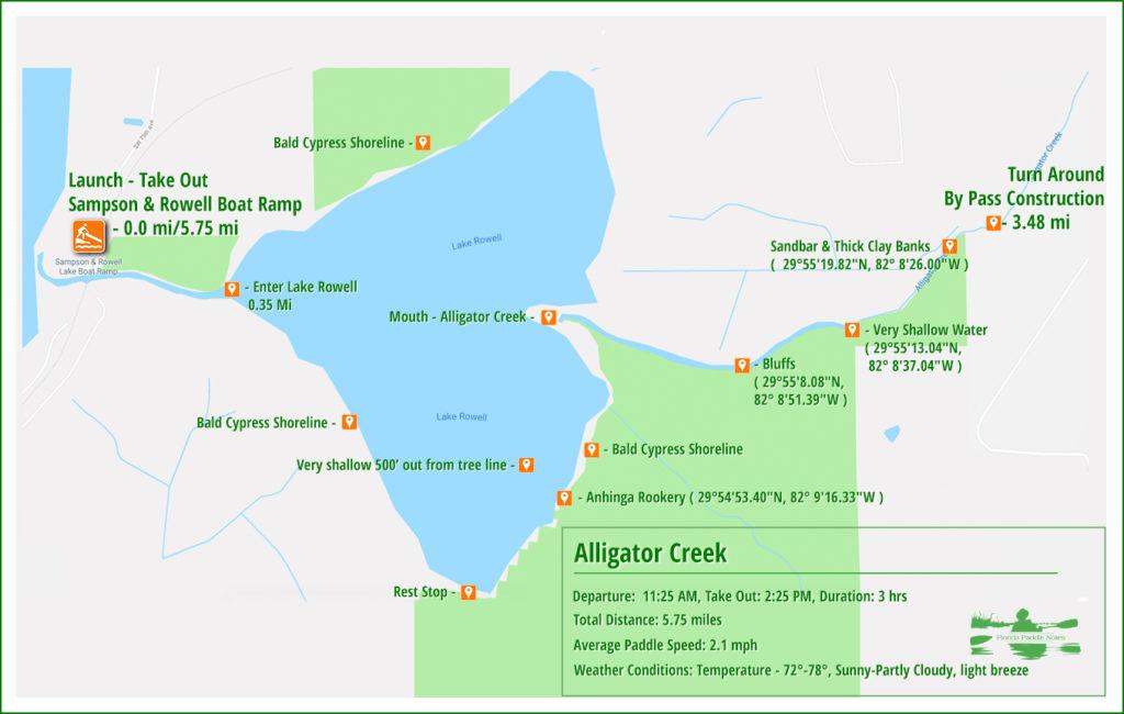 Alligator Creek Paddle Map