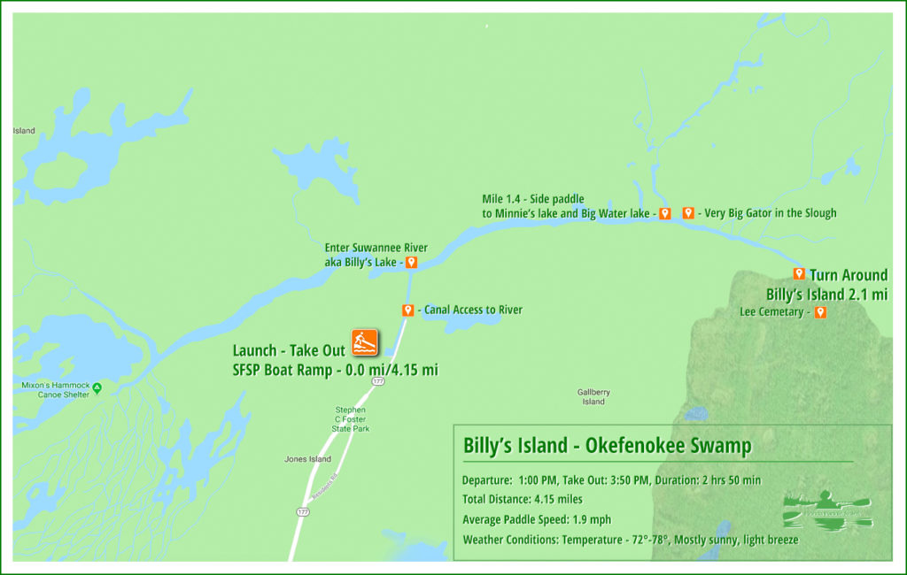 Billy's Island Paddle Map
