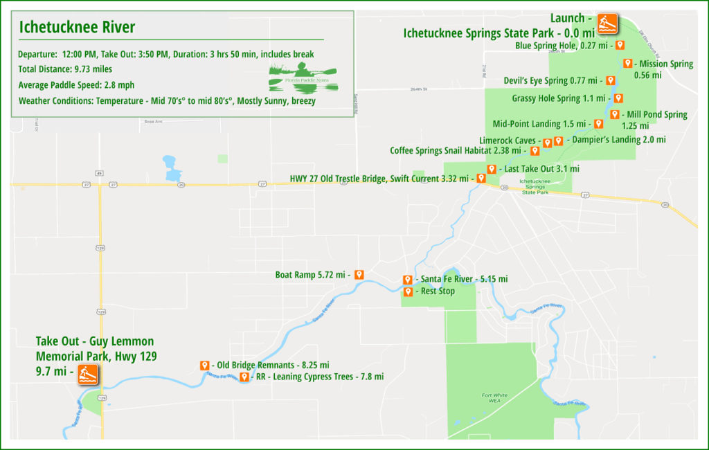 Ichetucknee River Paddle Map