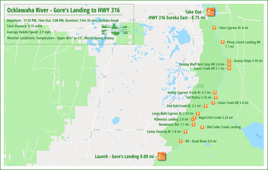 Ocklawaha River Paddle Map - Gore's Landing to Eureka East