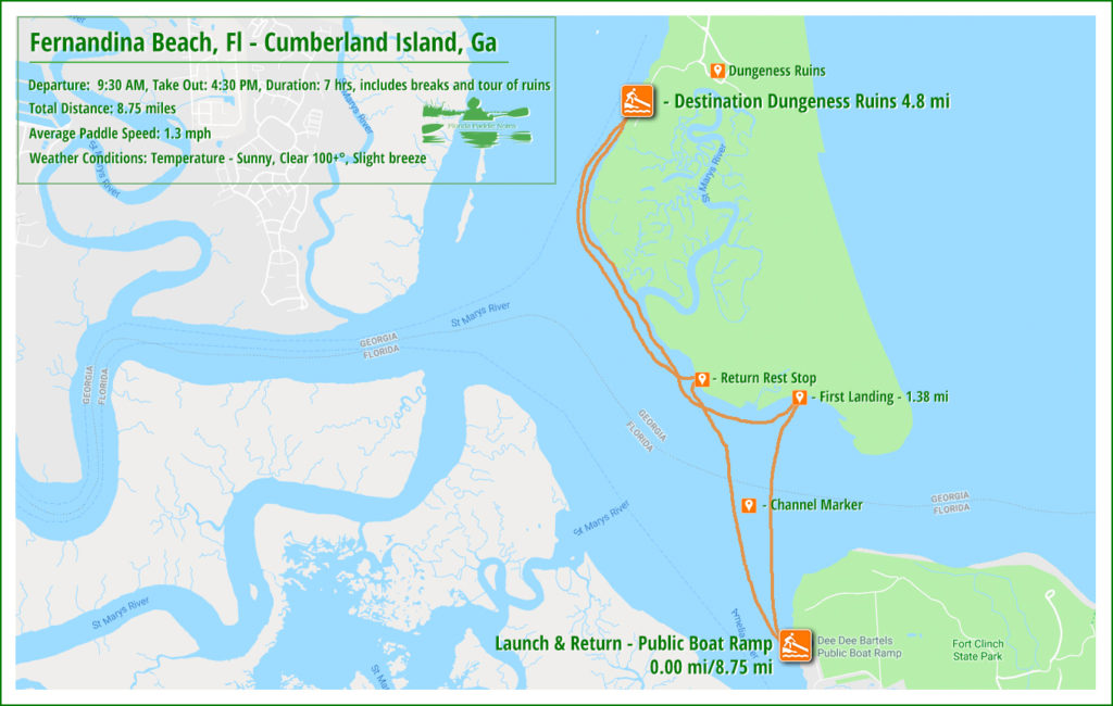 Fernandina, Fl to Cumberland Island, Ga Paddle Map