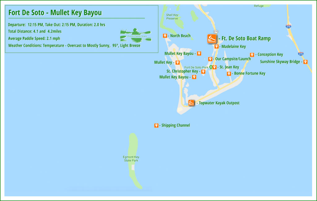 Fort De Soto Mullet Key Bayou Paddle Map