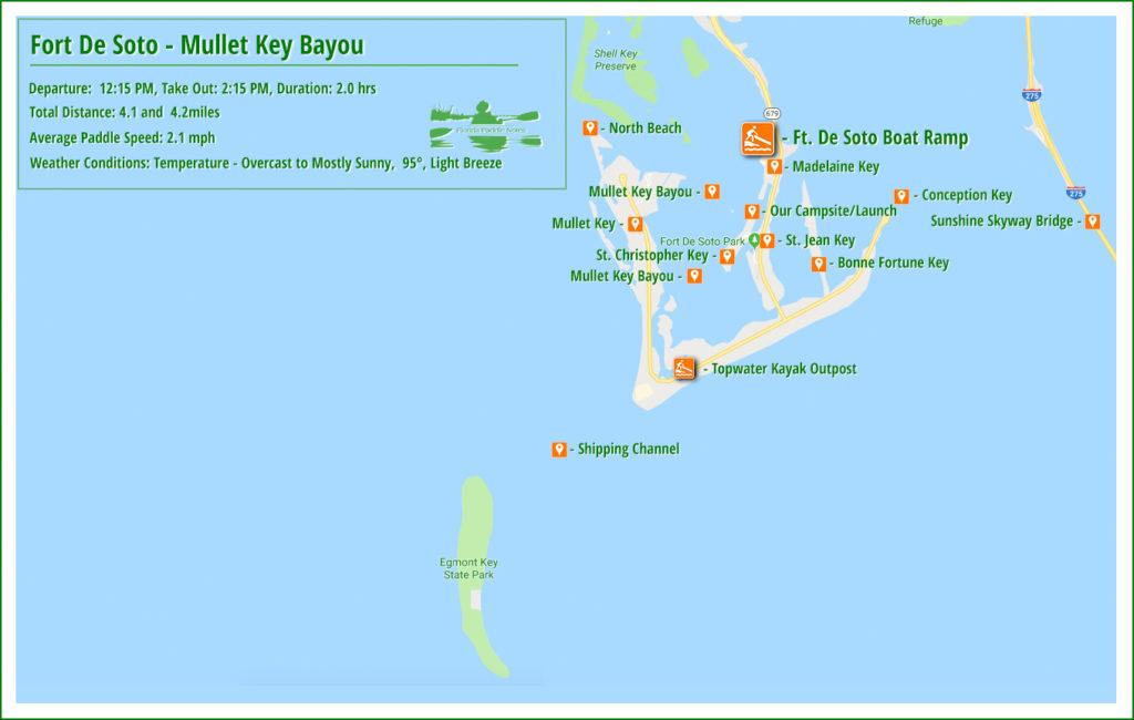 Fort De Soto Mullet Key Bayou Paddle Map