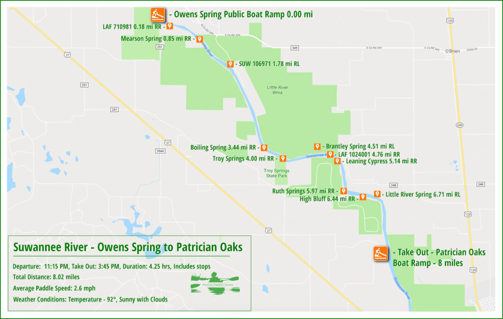 Suwannee River Paddle Map - Owens Spring to Patrician Oaks