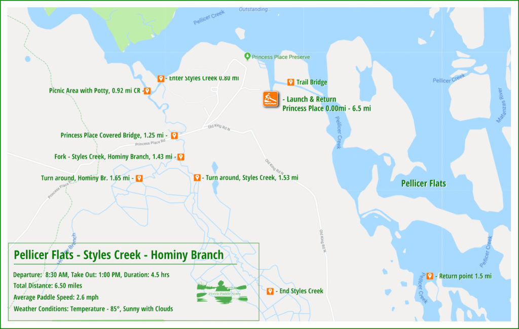 Pellicer Creek, Styles Creek and Hominy Branch Paddle Map