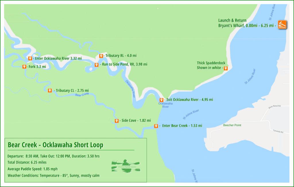 Bear Creek - Ocklawaha River Paddle Map