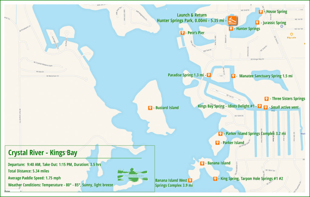 Paddle Map Kings Bay at Crystal River