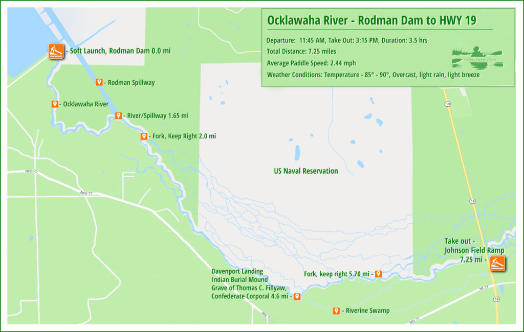 Ocklawaha River - Rodman Dam to Hwy 19 Paddle Map