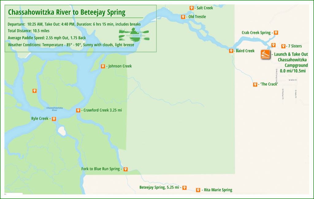 Crawford Creek - Beteejay Spring Paddle Map