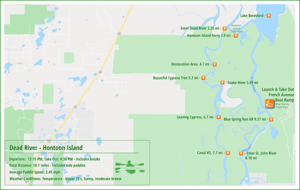 Hontoon Island Paddle Map