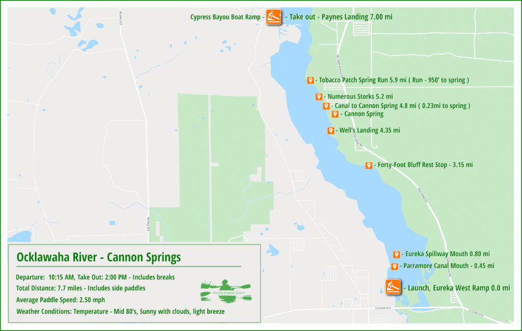 Ocklawaha Cannon Springs Paddle Map