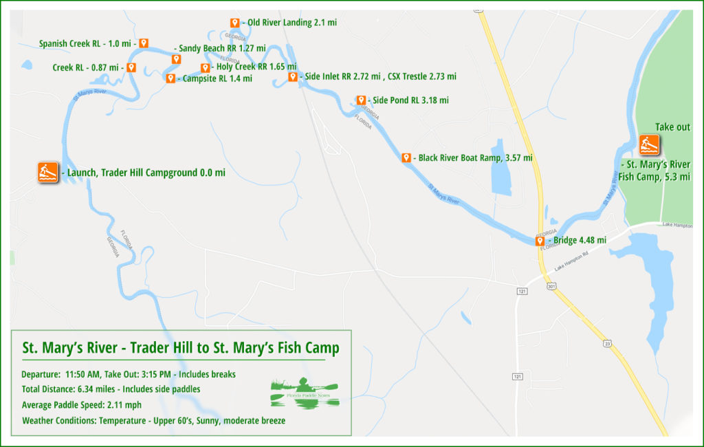 St. Mary's River Paddle Map