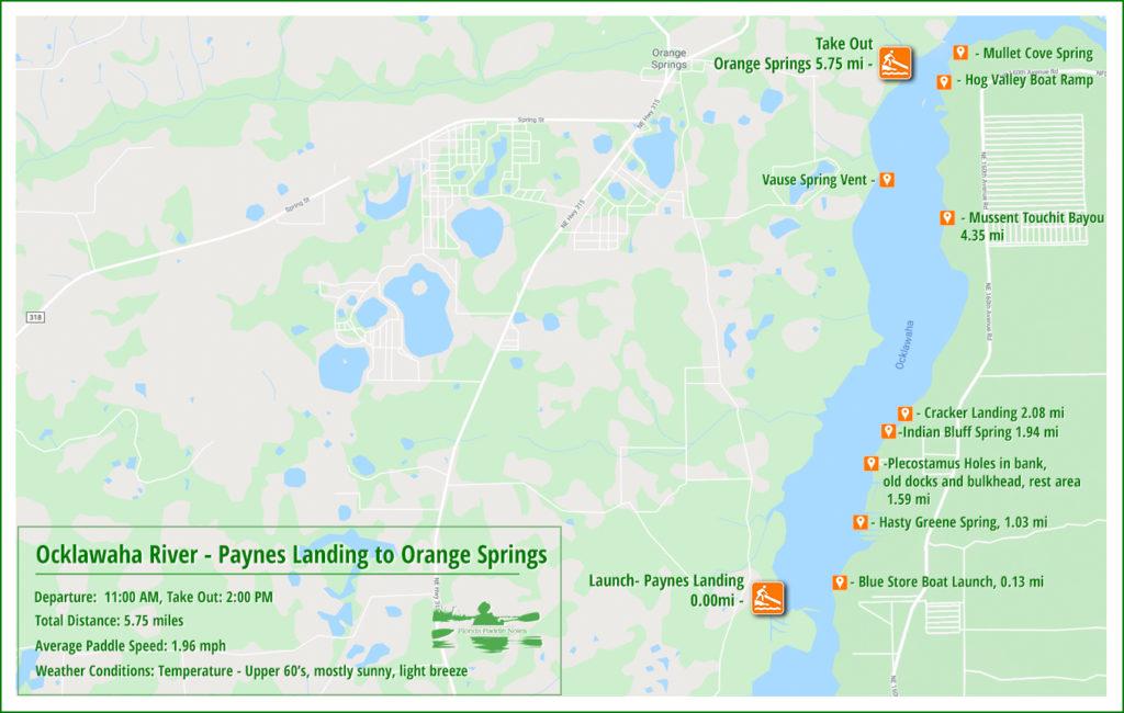 Ocklawaha River Paddle Map - Paynes Landing to Orange Springs