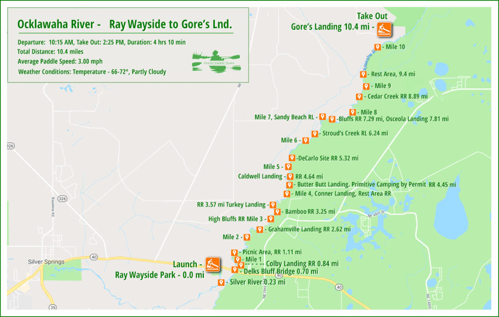 Ocklawaha Paddle Map - Ray Wayside toe Gores Landing