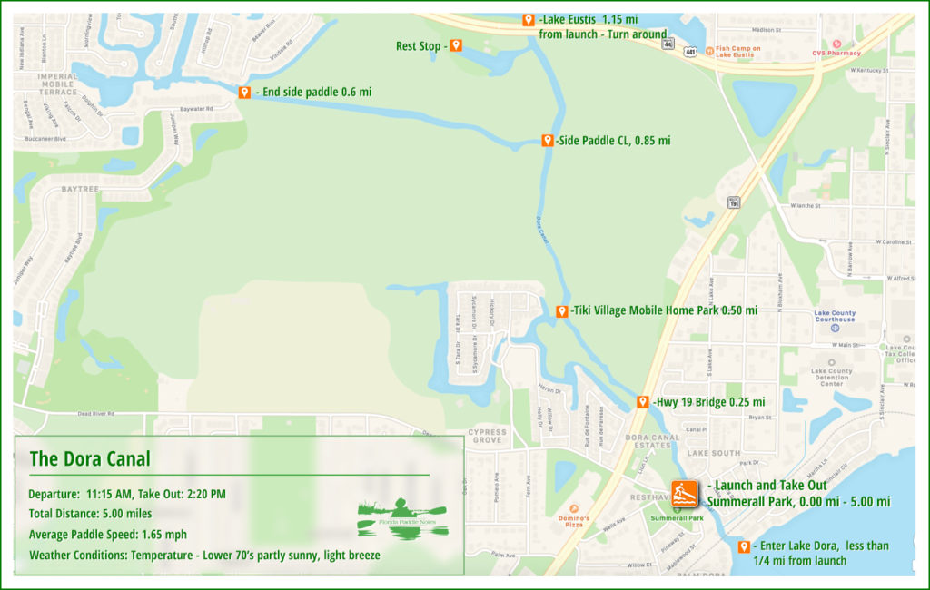 Dora Canal Paddle Map
