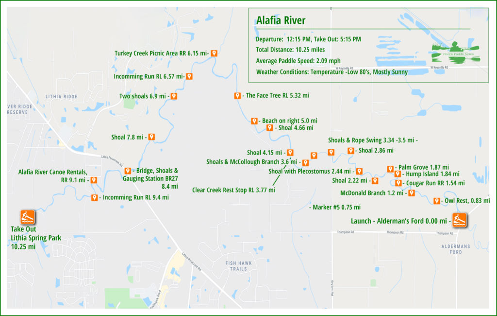 Alafia River Paddle Map