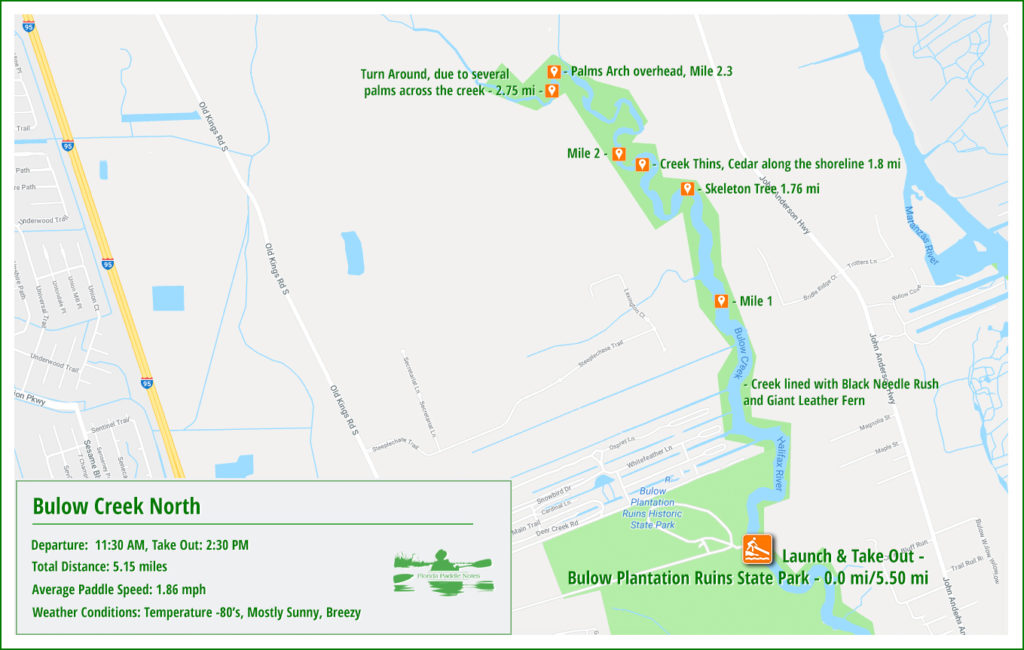 Bulow Creek Paddle Map