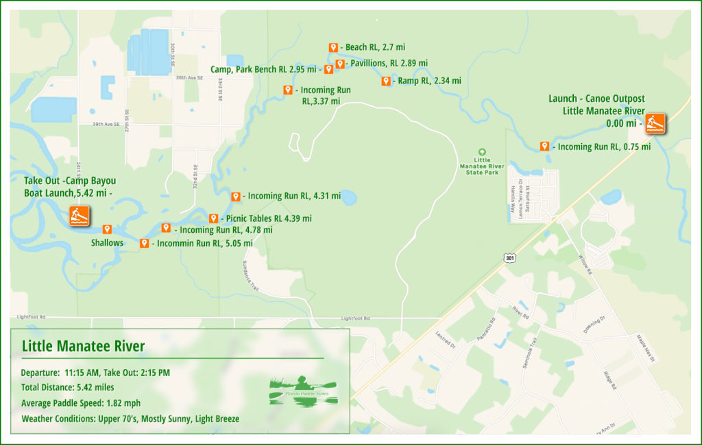Little Manatee River Paddle Map