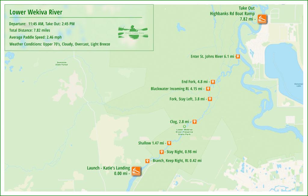 Lower Wekiva River Paddle Map