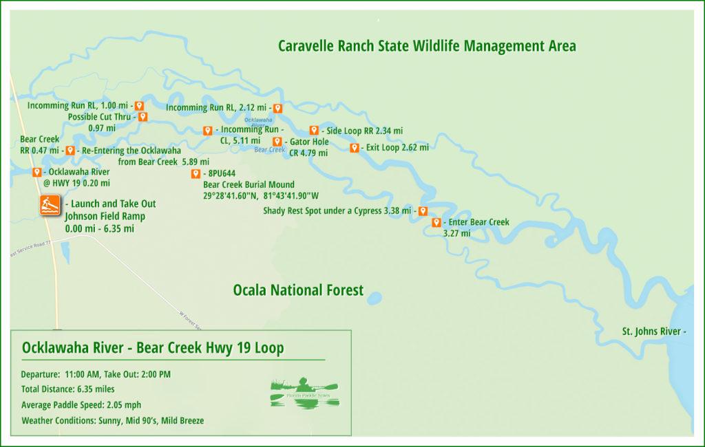 Ocklawaha Bear Creek Paddle Map