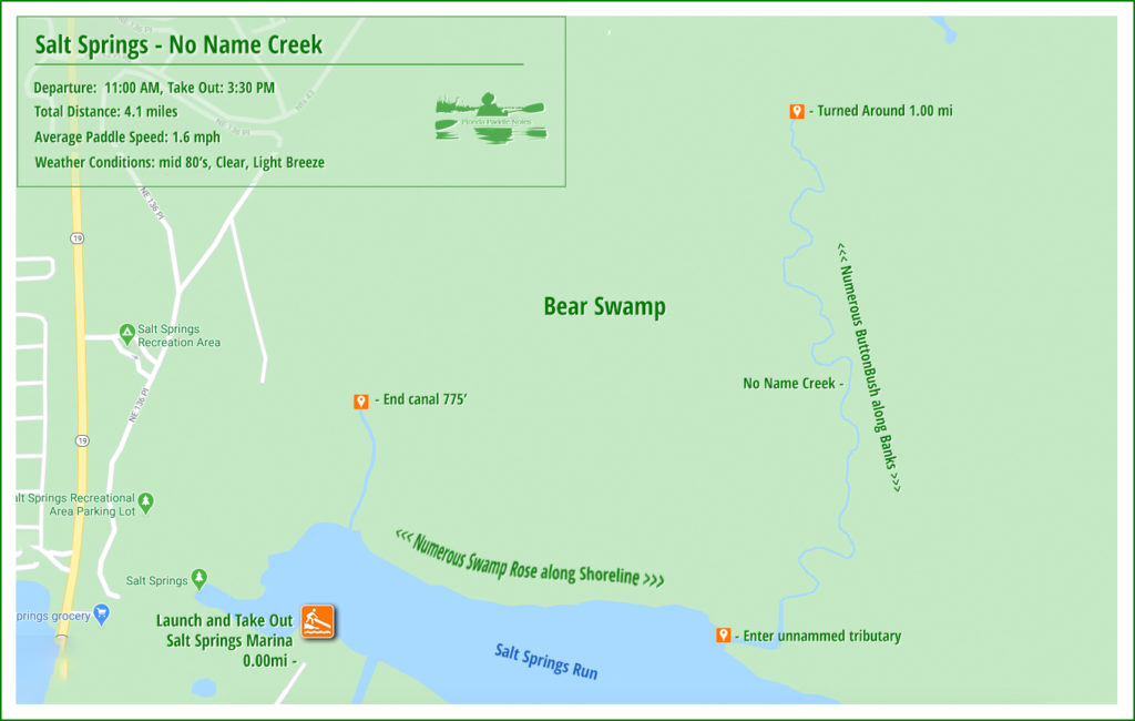 Paddle Map - Salt Spring Run and unnamed creek
