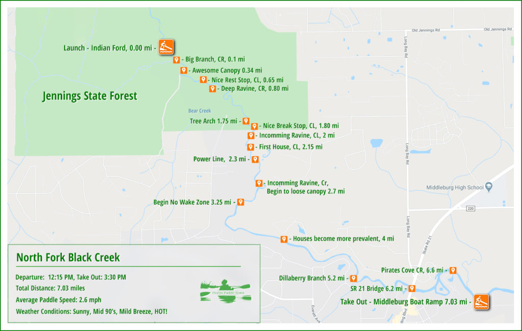 North Fork Black Creek Paddle Map
