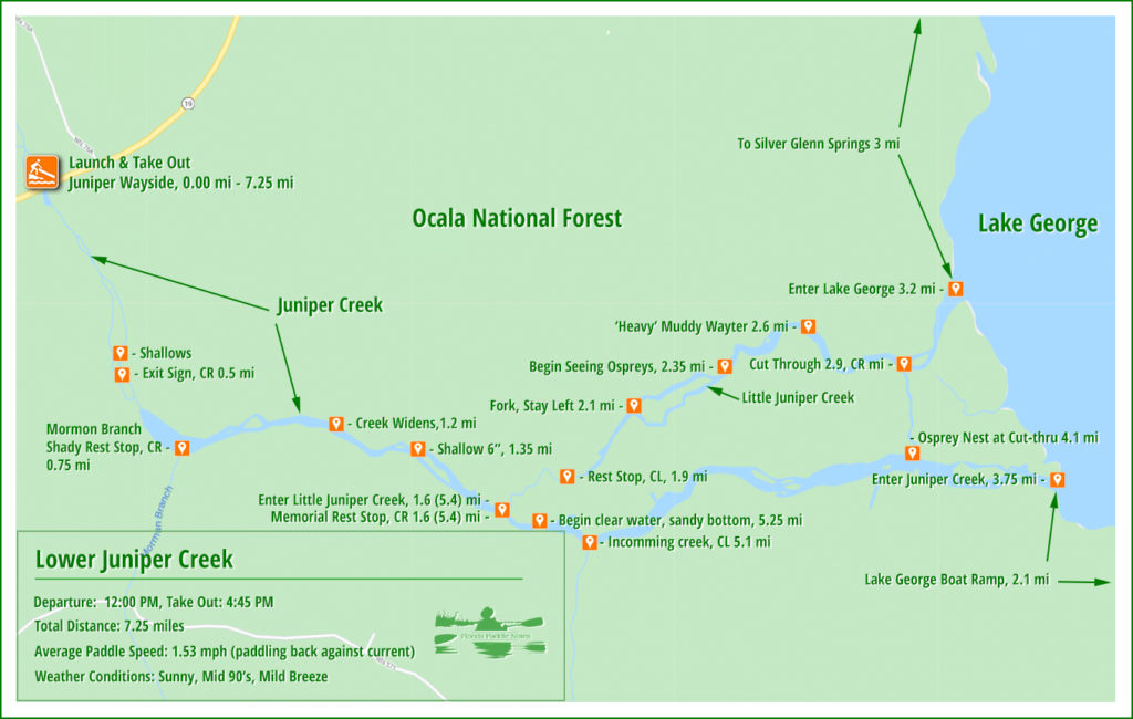 Paddle Map - Lower Juniper Creek