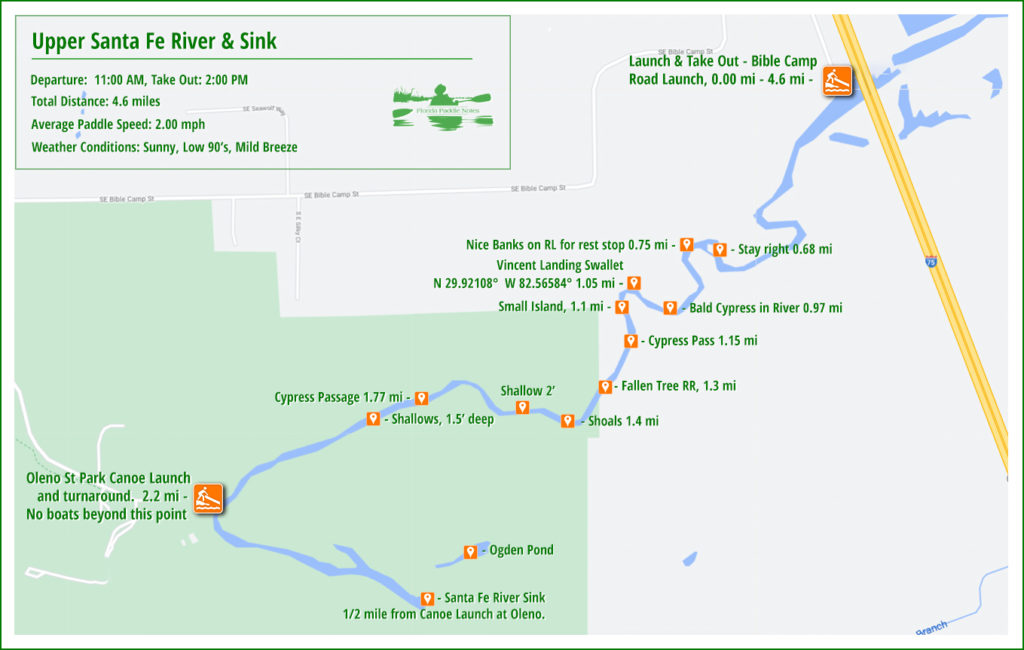 Upper Santa Fe River Sink Paddle Map