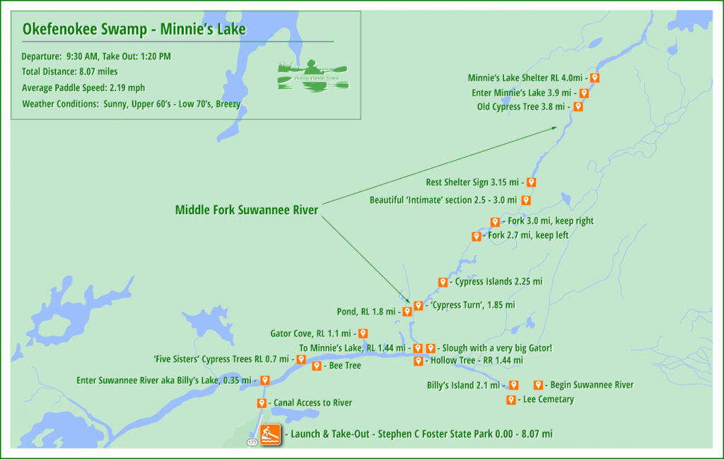 Okefenokee Swamp - Minnie's Lake Paddle Map