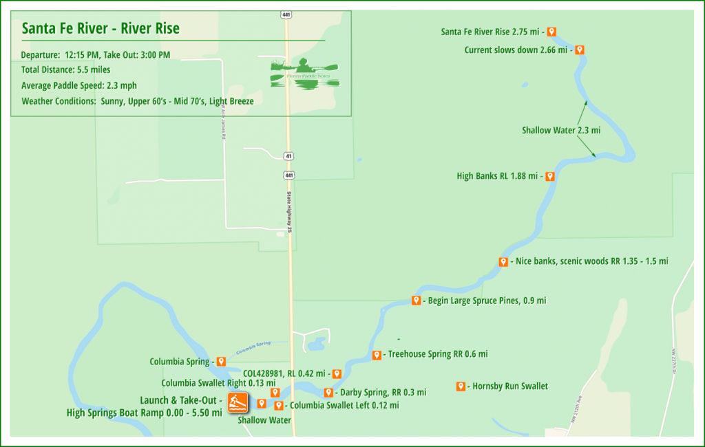Santa Fe River Rise Paddle Map